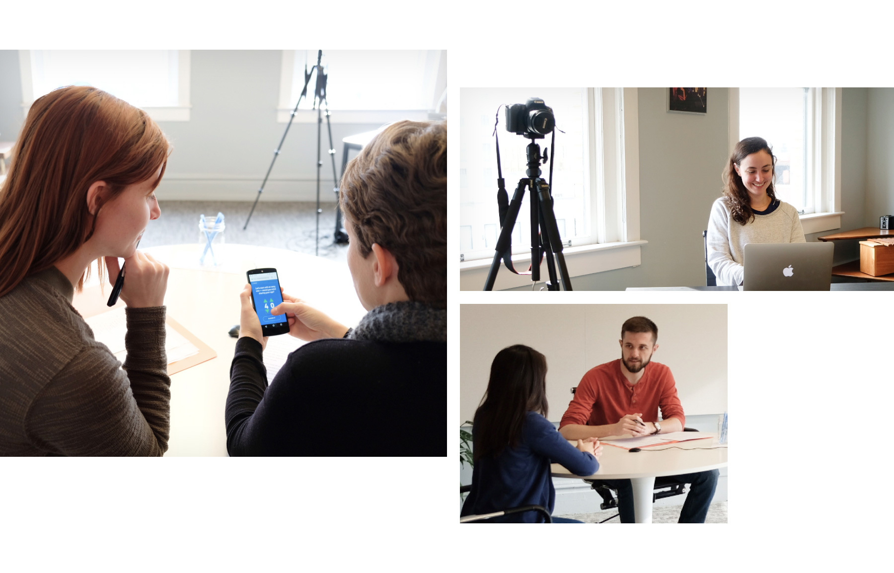 Photos of Viget UX researchers interviewing participants.