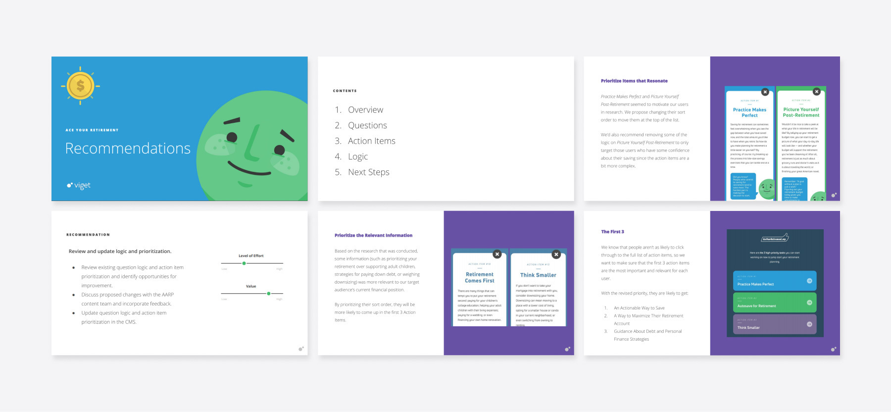A sampling of the User Research Recommendations report, a deliverable produced by Viget's UX Researchers.