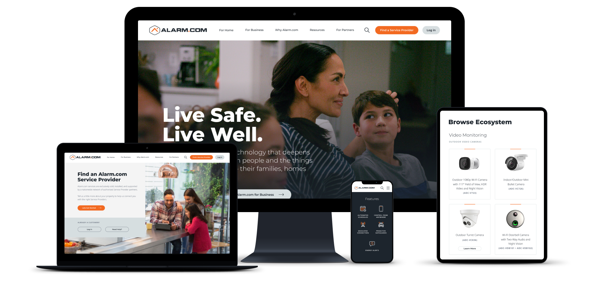 An image of the Alarm.com redesigned website on various screen types - mobile, laptop, tablet, and large monitor.