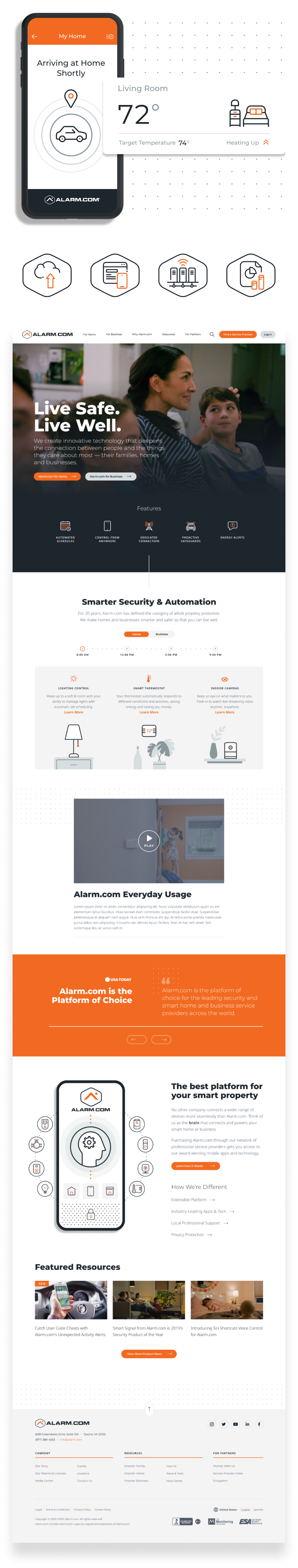 An image of Alarm.com's homepage along with some branding assets and illustrations