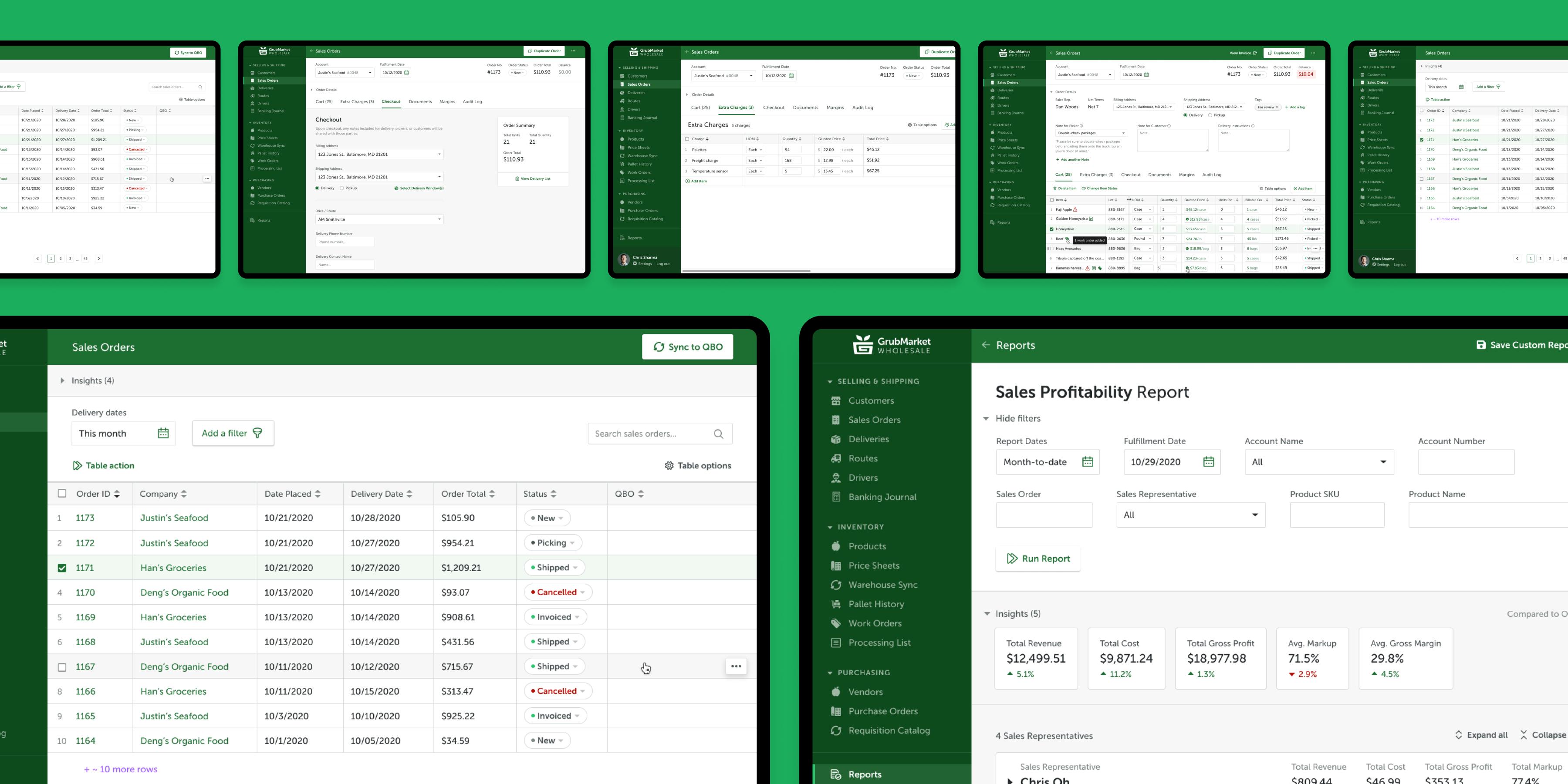 UI designs of GrubMarket's WholesaleWare B2B experience.