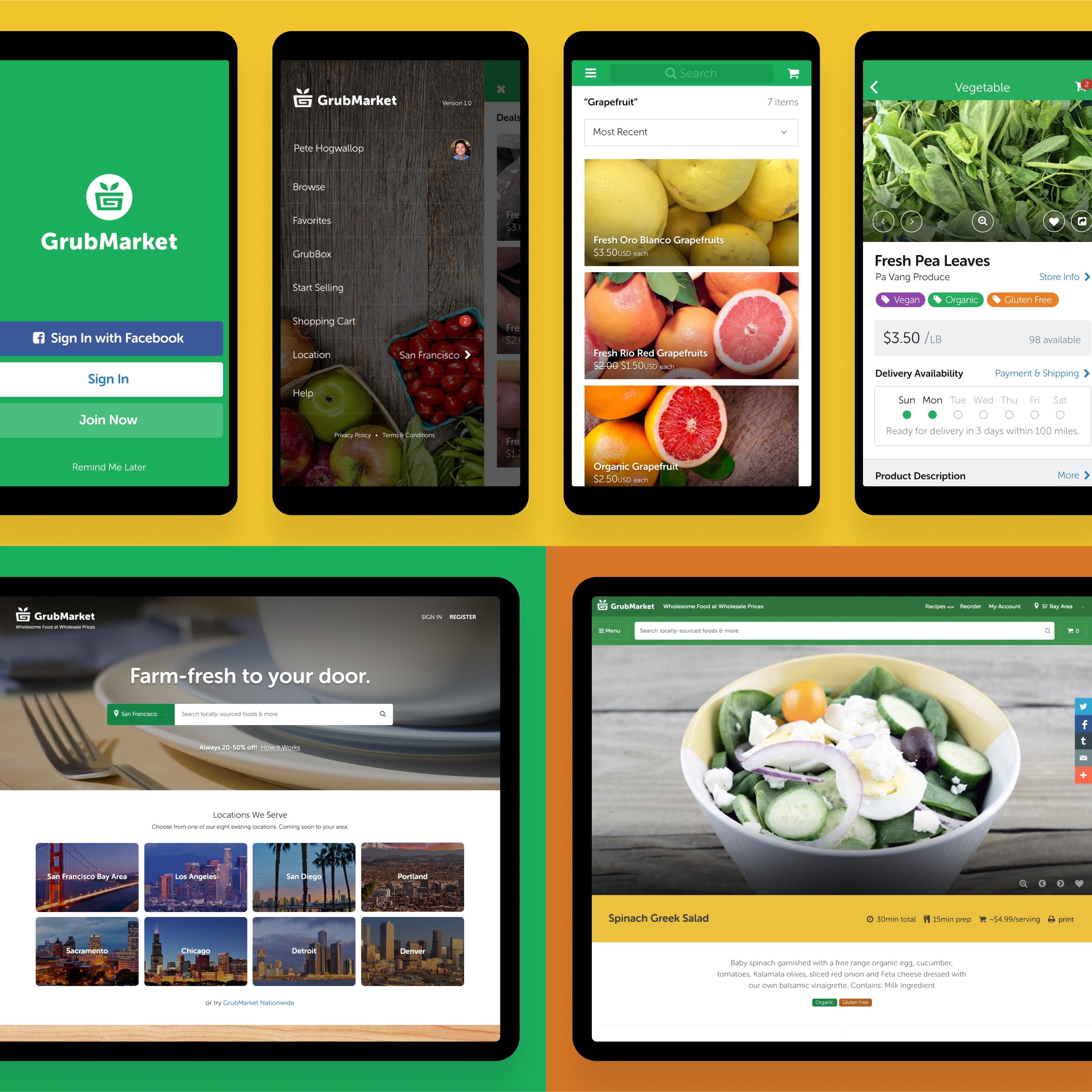 Examples of GrubMarket's native mobile app and B2C marketplace experience.