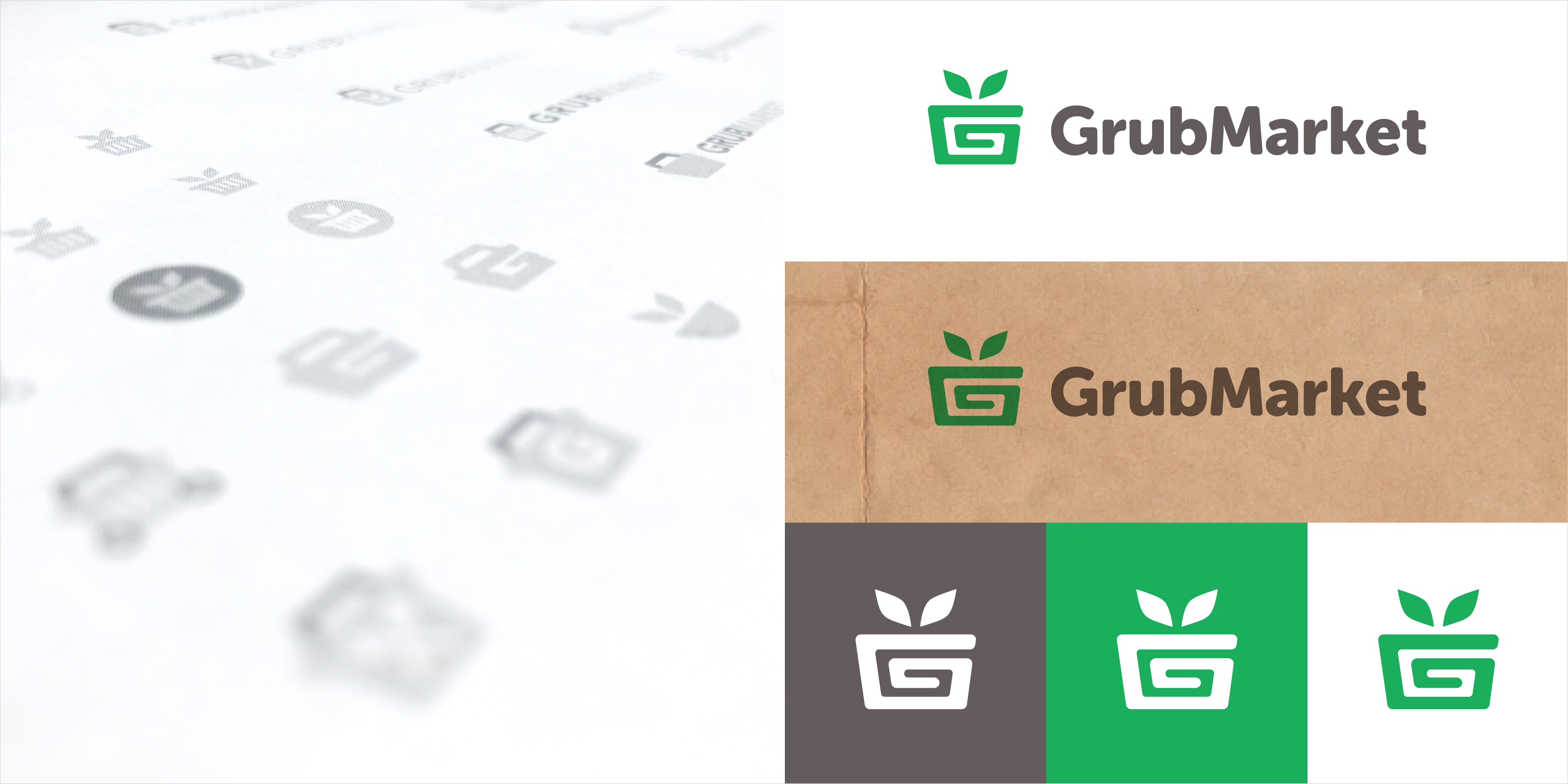 Explorations and final designs of the GrubMarket logo.