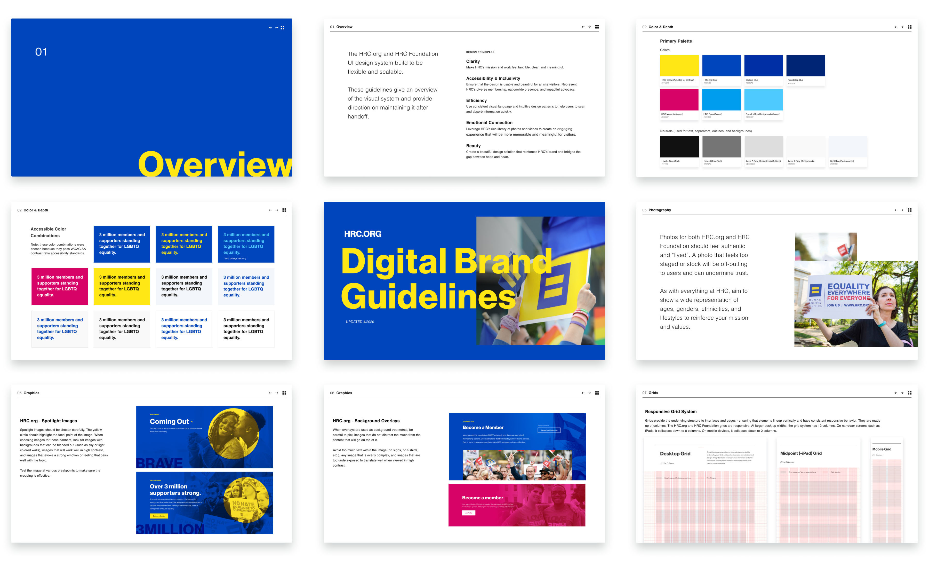 Screenshots from the Digital Brand Guide created for HRC