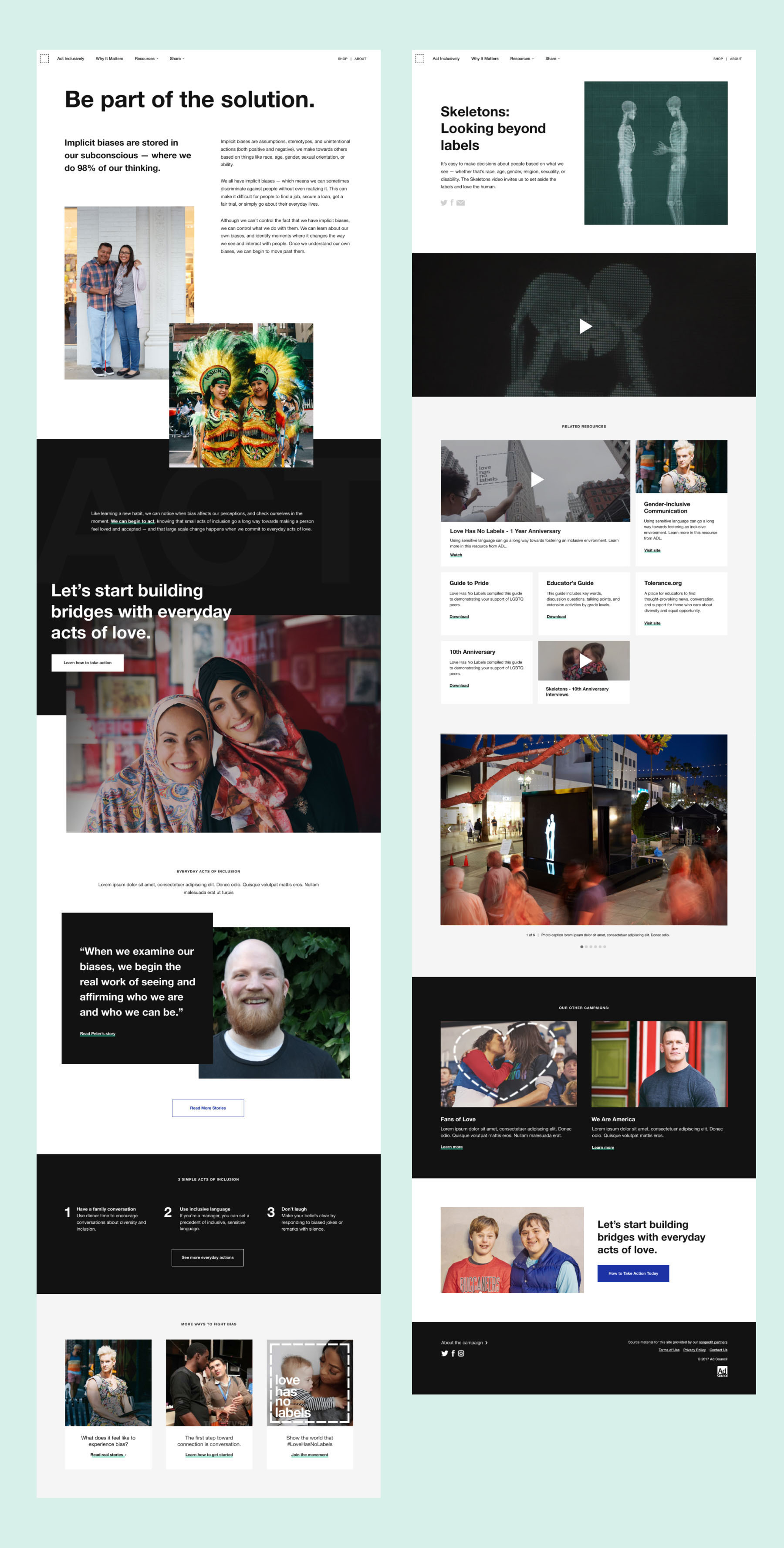 Two page layouts showing how unconscious bias is tackled throughout the site.