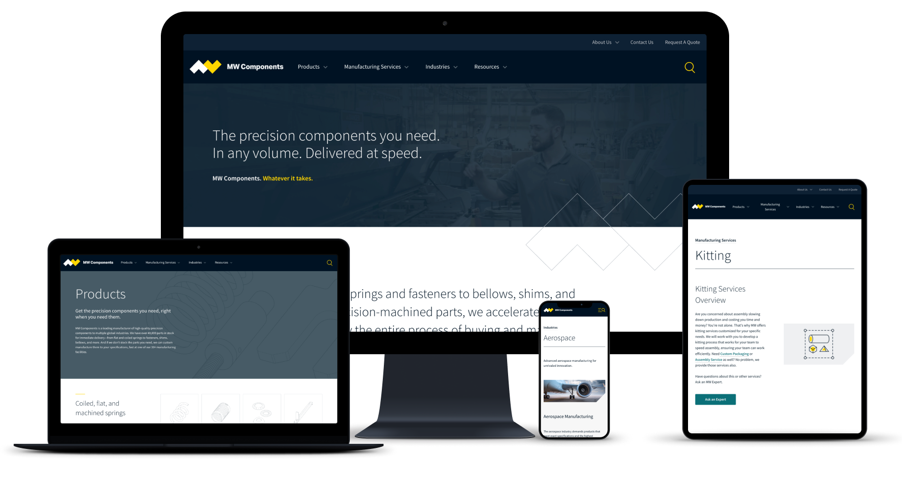 An image of the MW Industries website on various screen types - mobile, laptop, tablet, and large monitor.