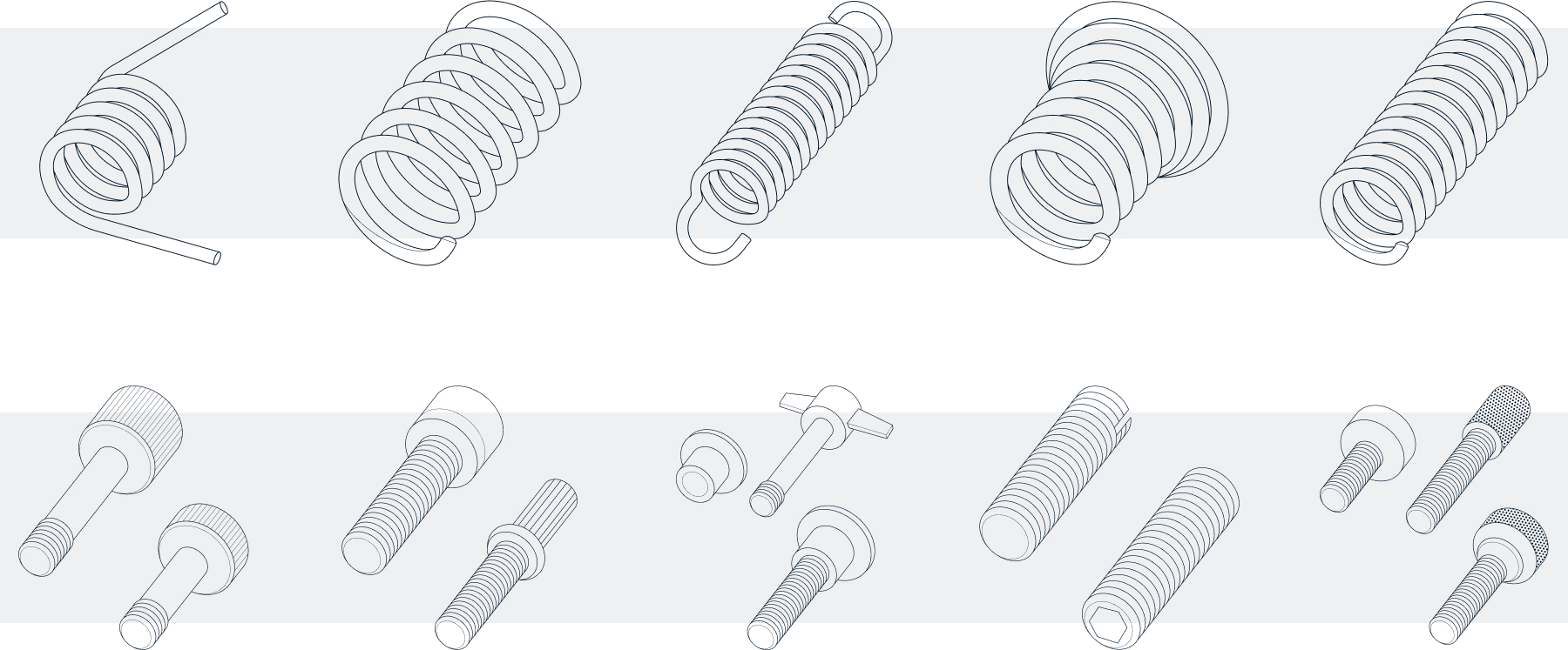 Grid of types of components MW Industries offers depicted via larger detailed illustrations