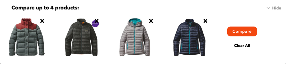 Patagonia's Comparison Feature