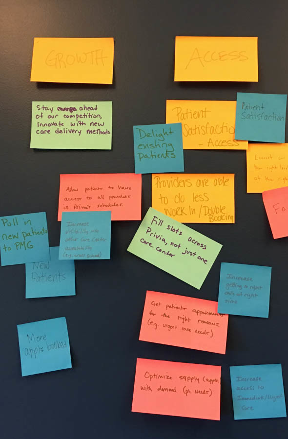 A photo of post-its with ideas, from a group brainstorming session.