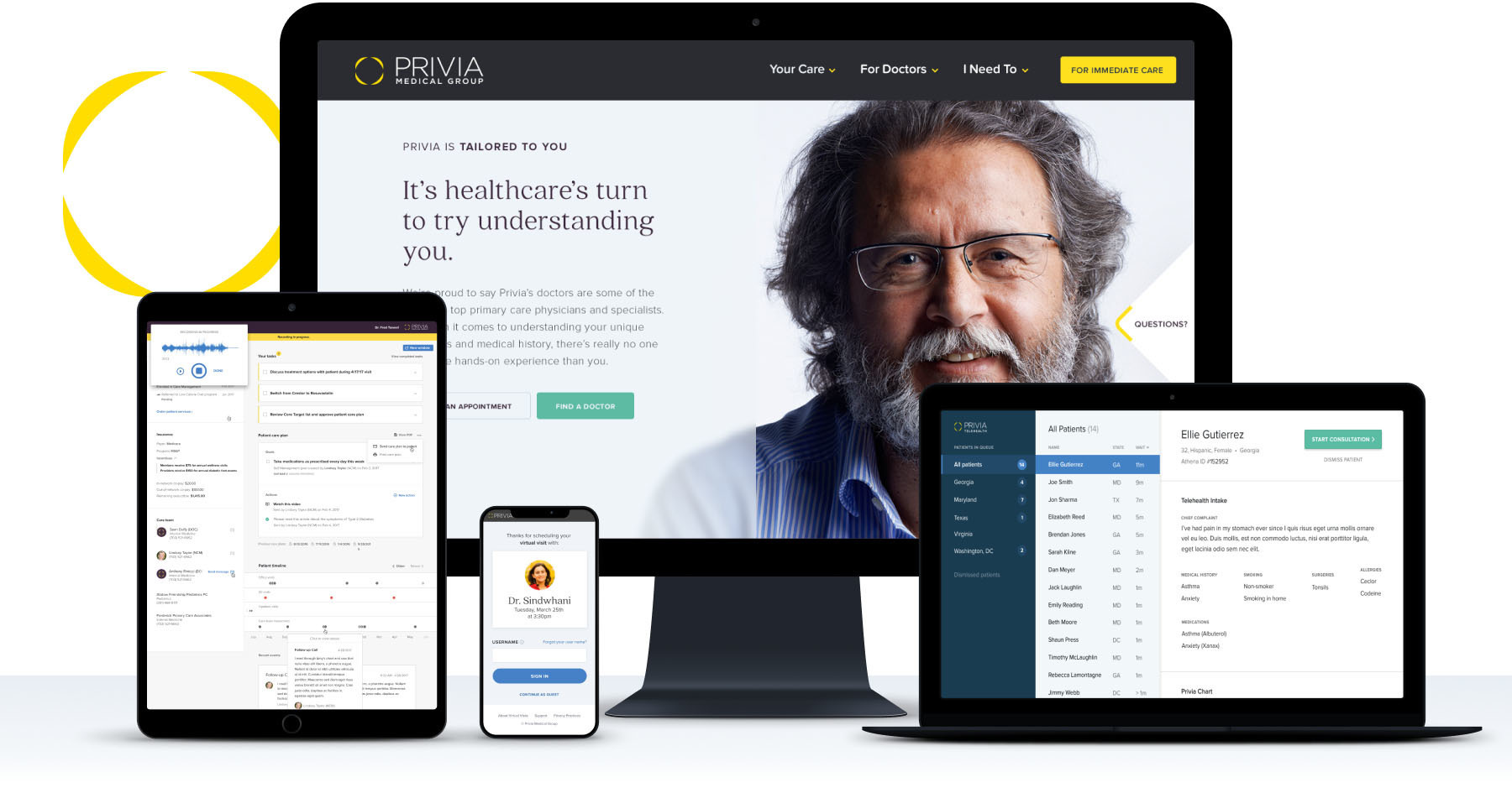 An image of Privia healthcare products and marketing sites on various screens - tablet, mobile, laptop, and desktop