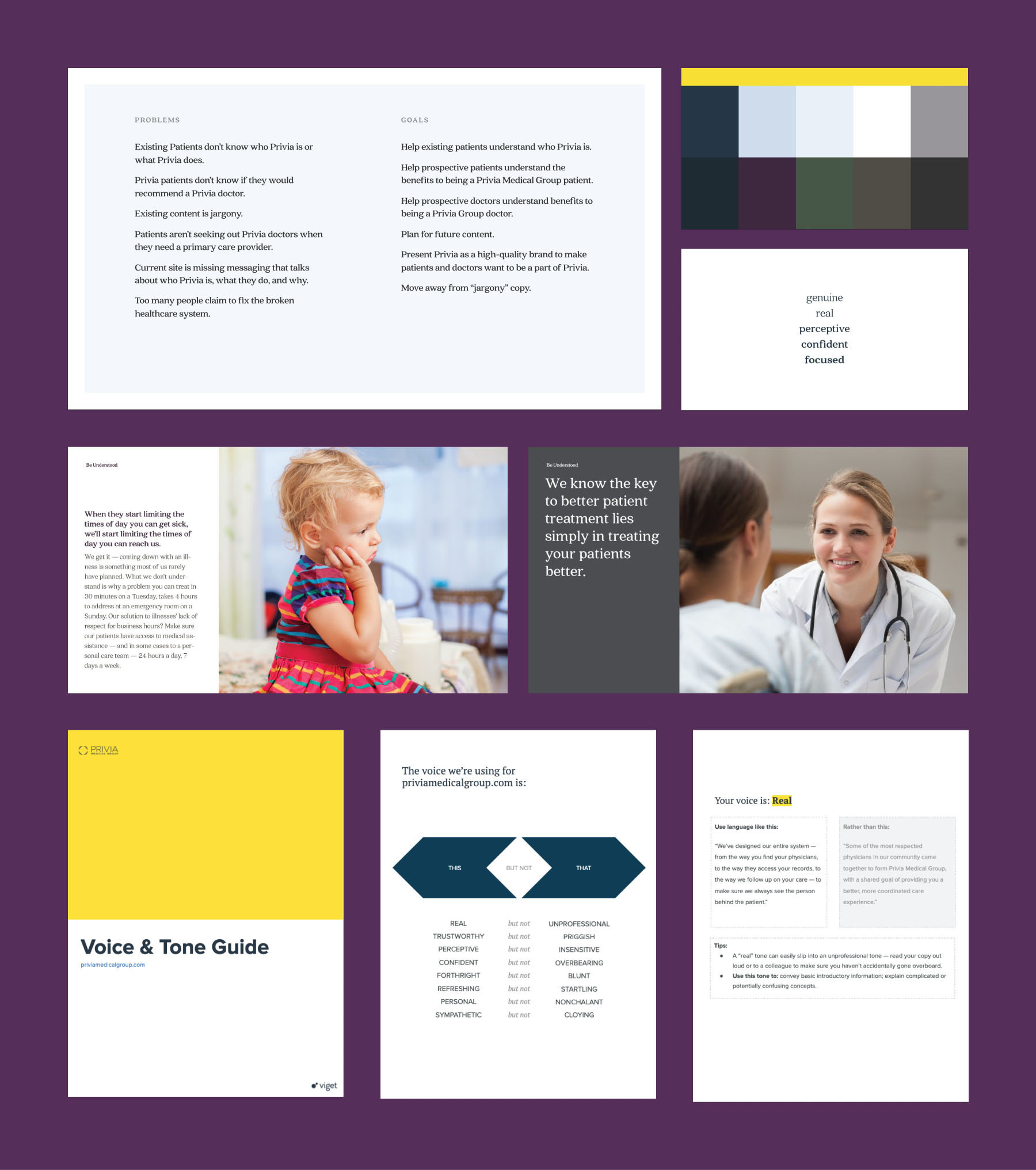 A collage representing various brand strategy deliverables, including a Voice and Tone doc, photography direction, and color palette.
