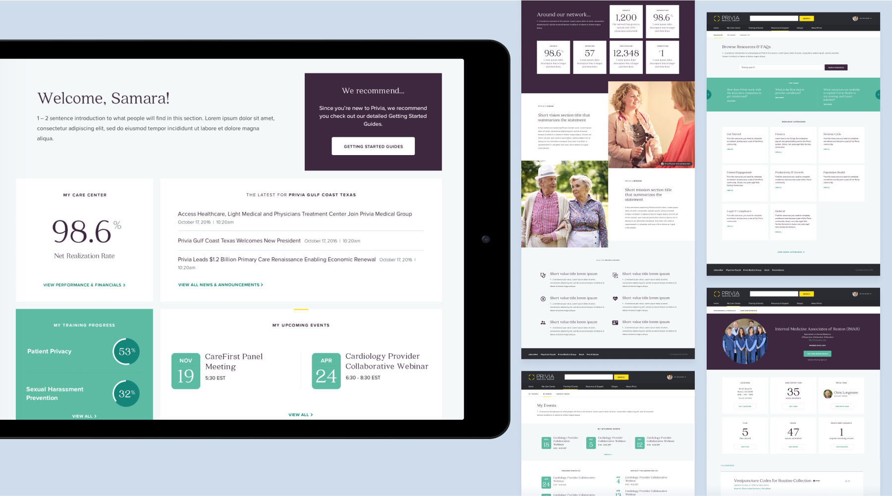 Screens from Privia's salesforce-driven private practice sites.