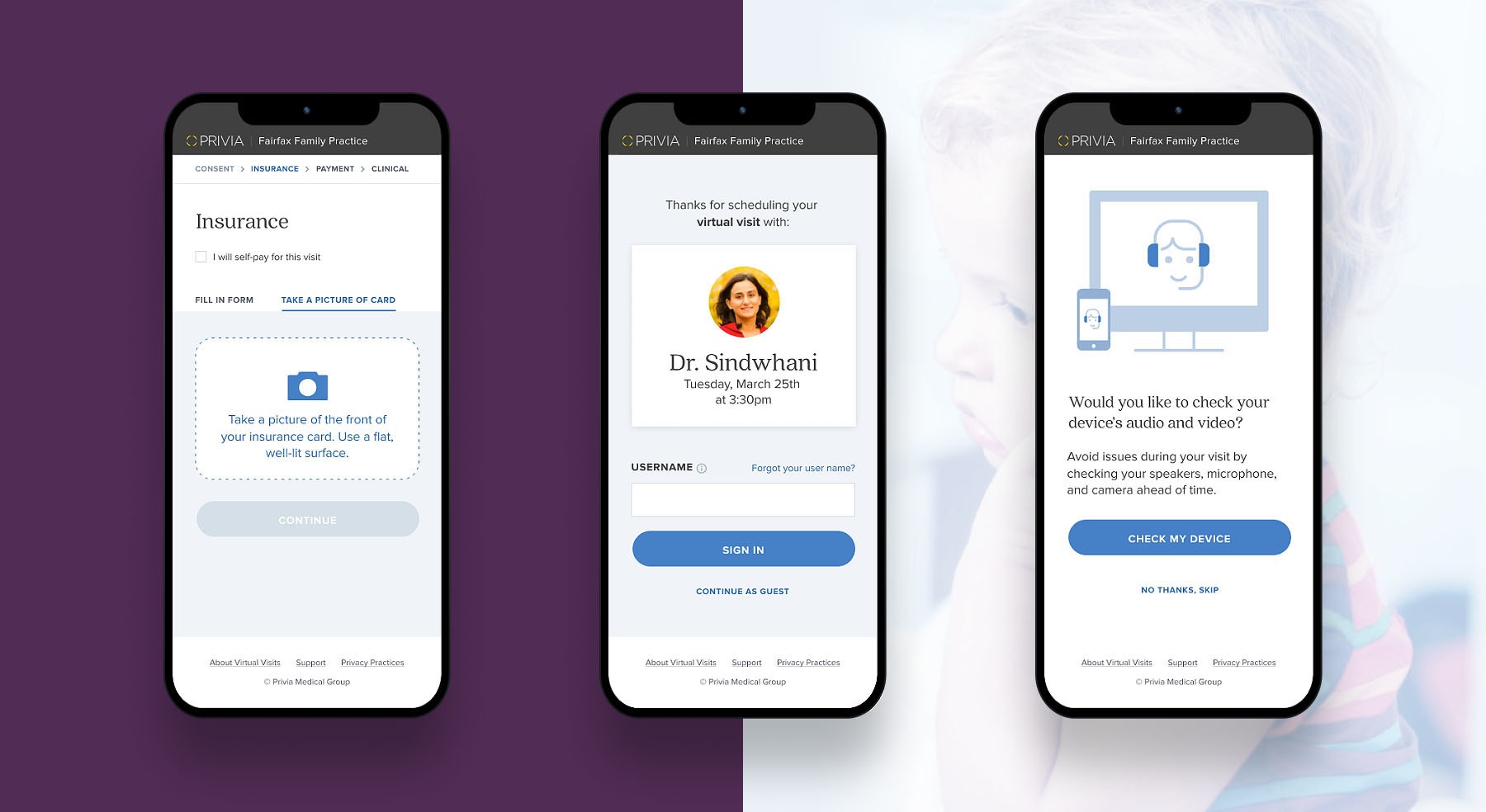 Three different screens from the Privia Telehealth mobile app