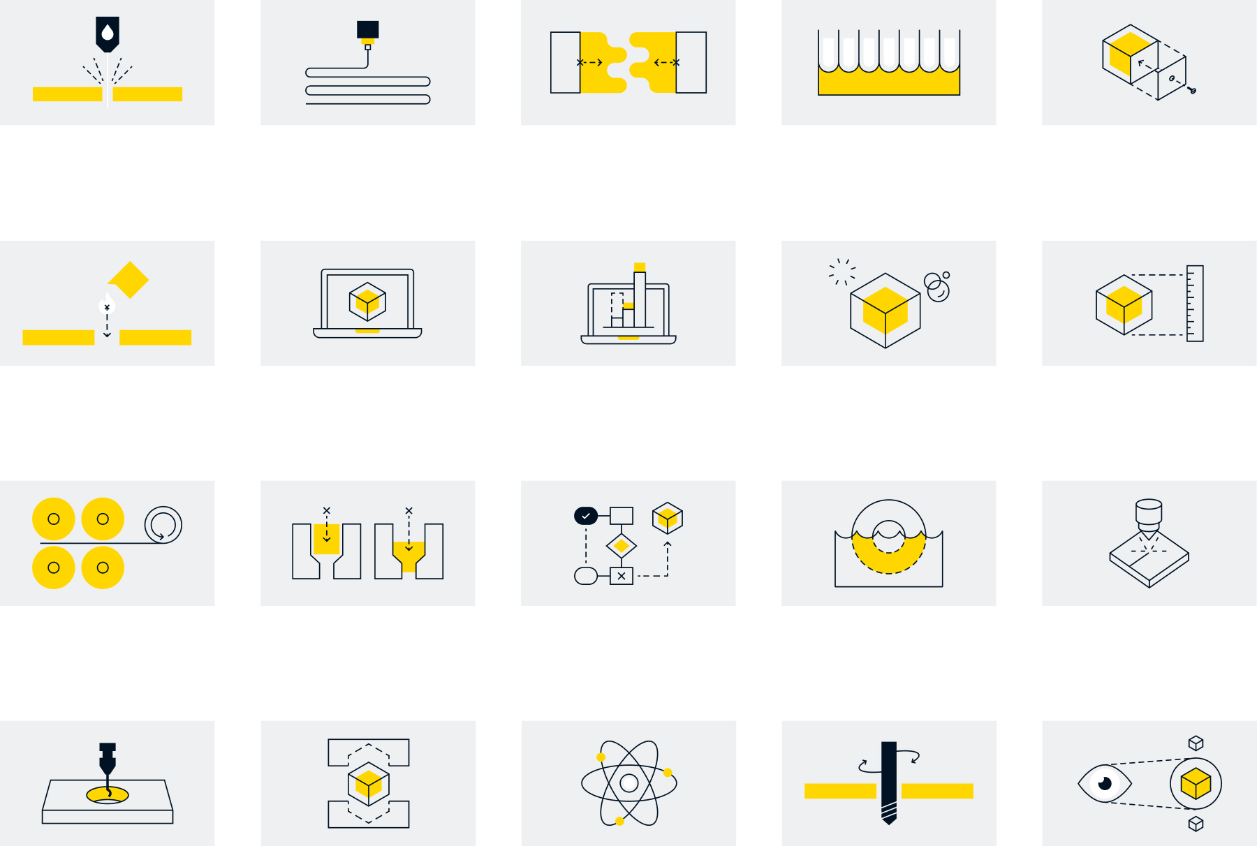 Grid of types of services MW Industries offers depicted via small illustrations
