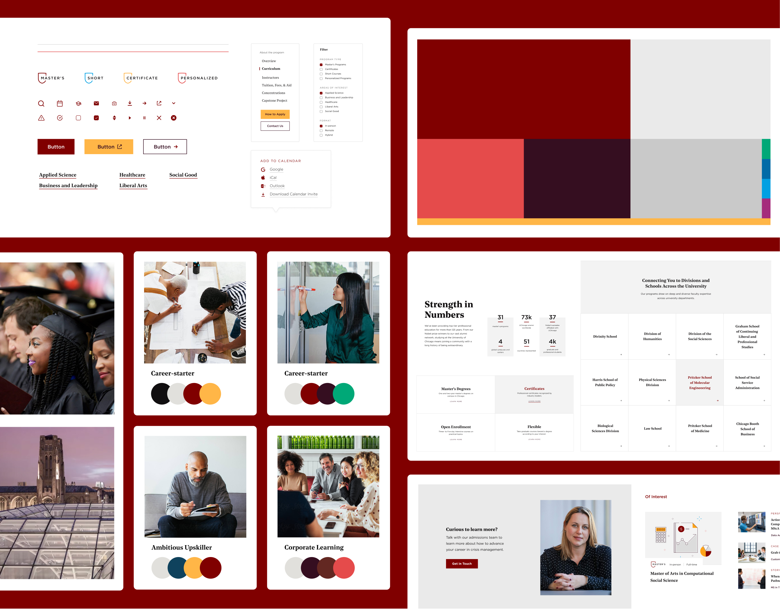 The UCPE design system which included such colors as maroon, salmon, plum, light and dark grey, and orange; photographic samples; call to action, promo, and other page blocks.