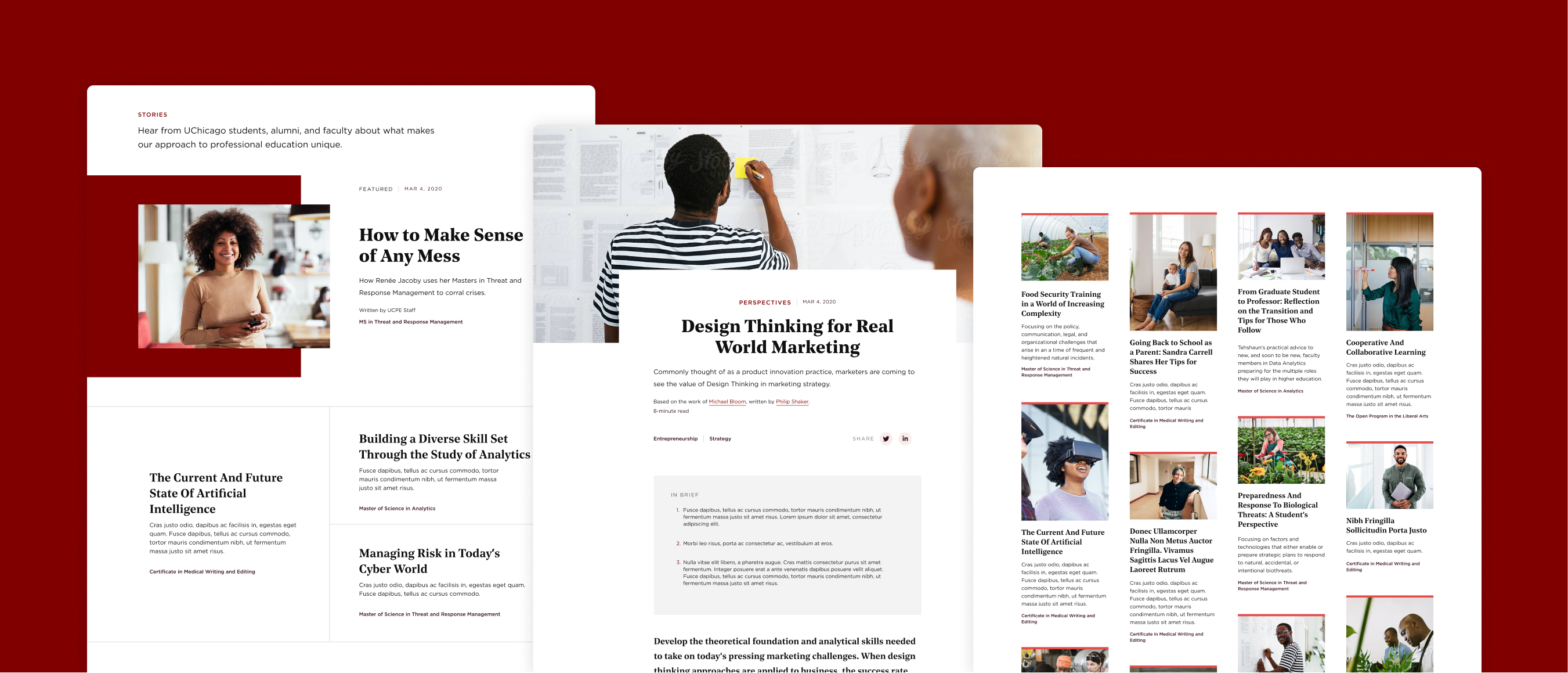 Three page compositions stacked in a diagonal pattern from top left to bottom right. The images on the page comps feature the articles pages — aka perspectives pages— including the index, feature articles, and article detail pages.