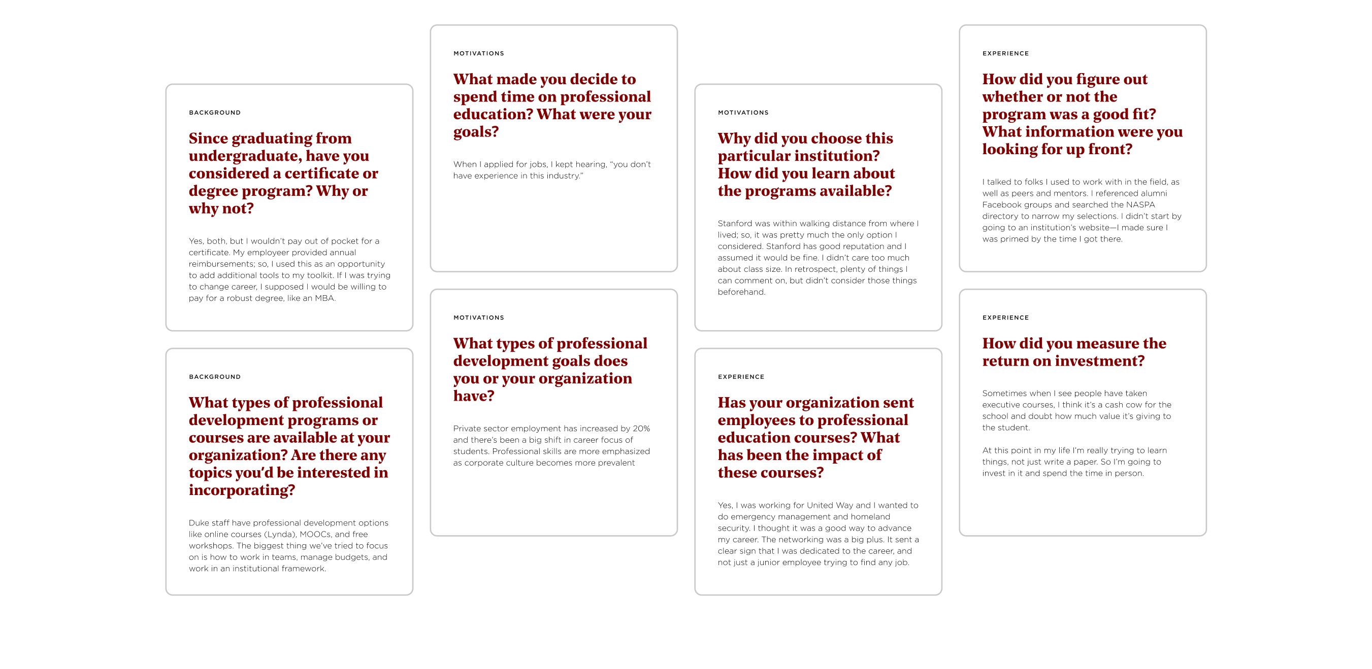 Eight cards with questions and answers from user interviews