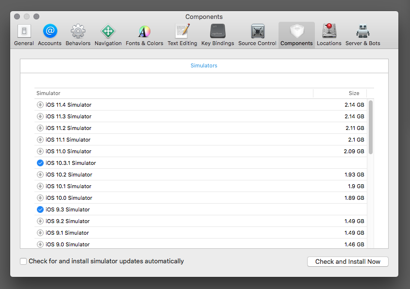Xcode runtimes list