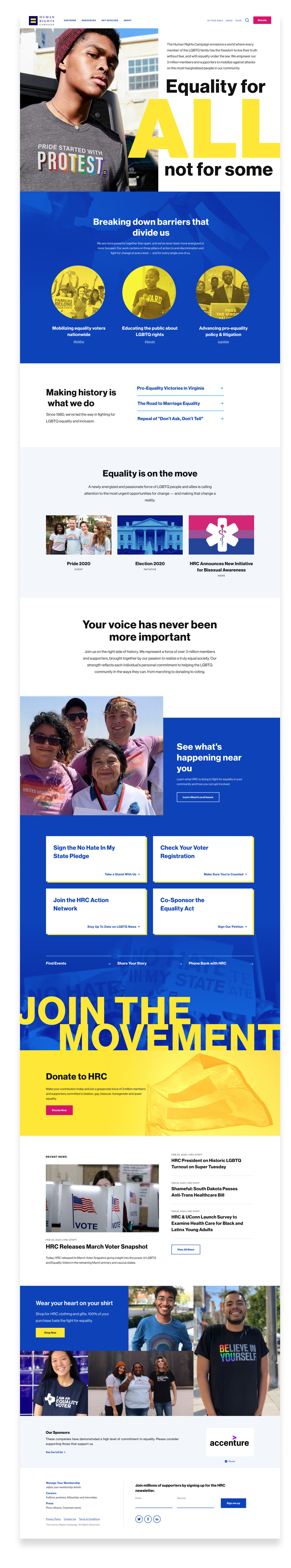 An image of the HRC homepage