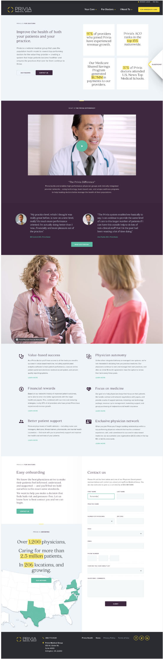 Design layout for Privia's marketing site.