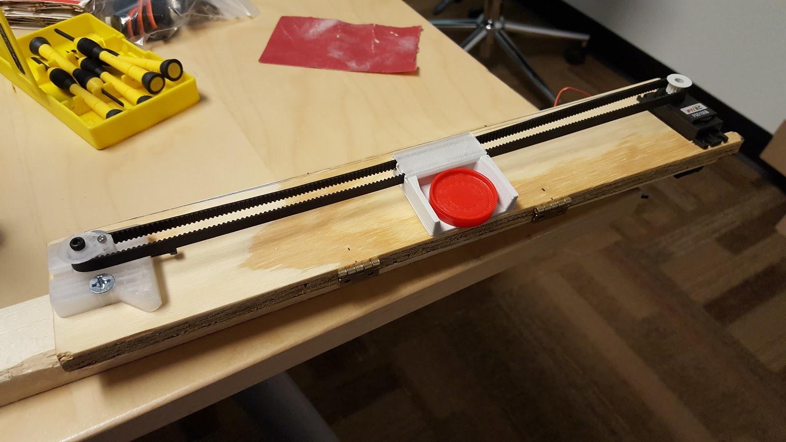 Prototype puck slider mechanism.