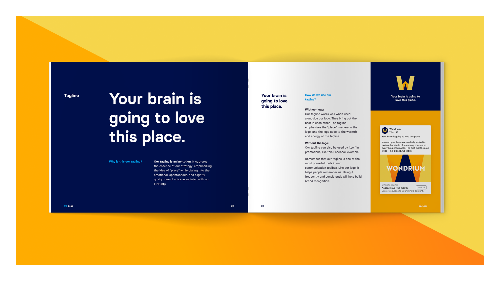 """A spread from the Wondrium brand book showcasing the Wondrium Tagline """"Your brain is going to love this place."""""""