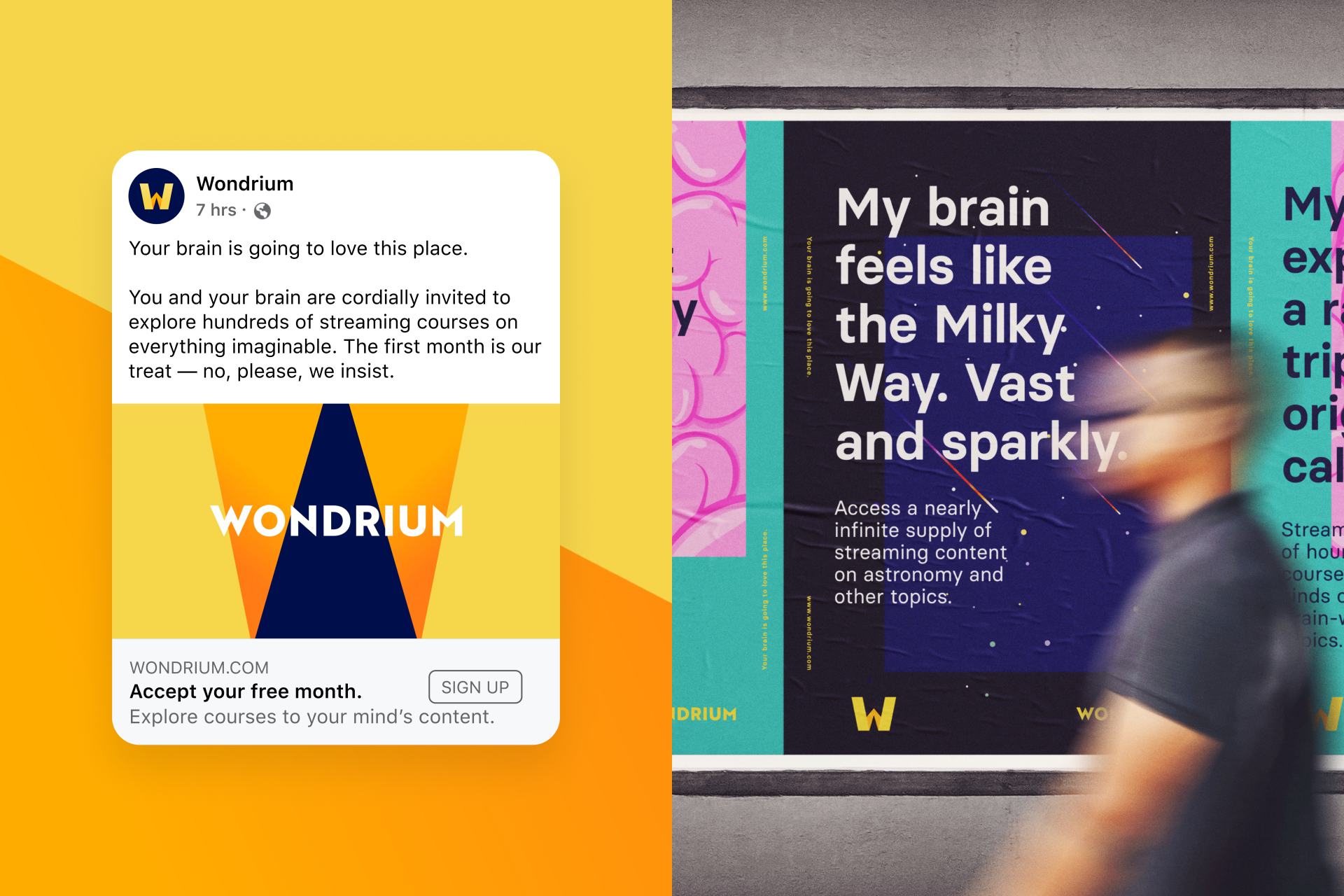A sample social post and a promotional poster for Wondrium.