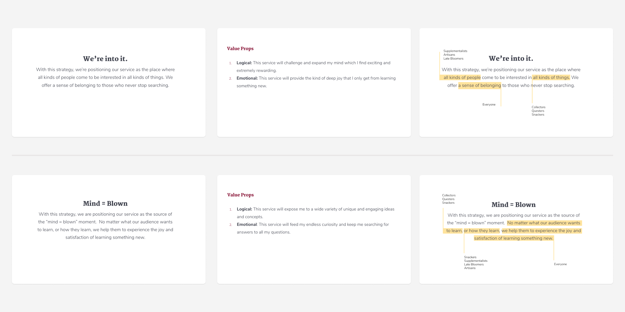 Six slides from a presentation showing the Strategy title, the value propositions, and a dissecting of the strategy statement for both final strategies.