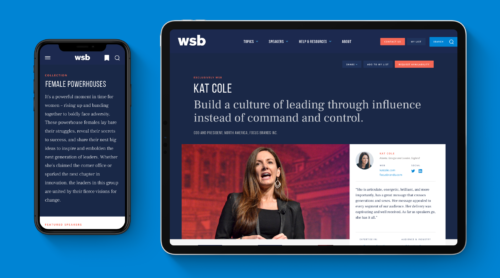 The Collections page for Female Powerhouses displayed on mobile and a Speaker page for Kat Cole displayed on an iPad.