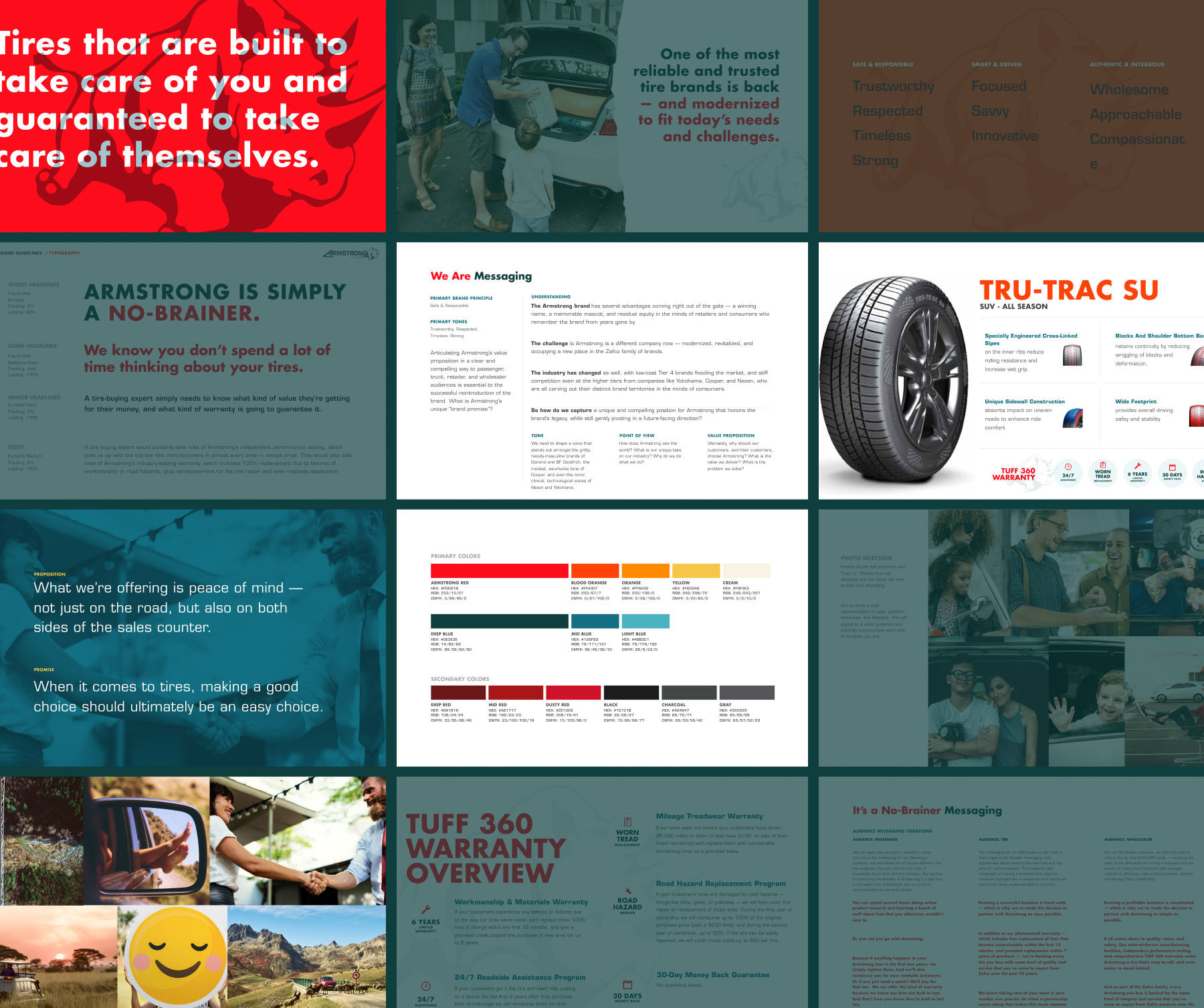 Collage of pages showing the visual direction from Armstrong's brand guide, including their teal and red color palette