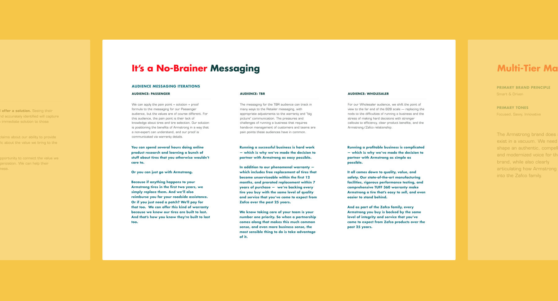 "Sample page from Armstrong's brand strategy guide showing messaging for the concept, ""It's a No Brainer"""
